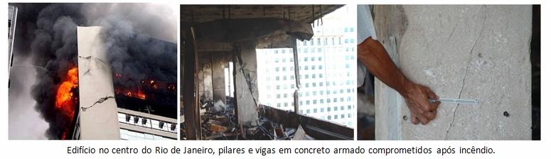 Edifício no centro do Rio de Janeiro, pilares e vigas em concreto armado comprometidos após incêndio.