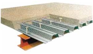Steel deck posicionado sobre uma viga, mesa superior deste perfil, não necessita de proteção passiva contra o fogo adicional.