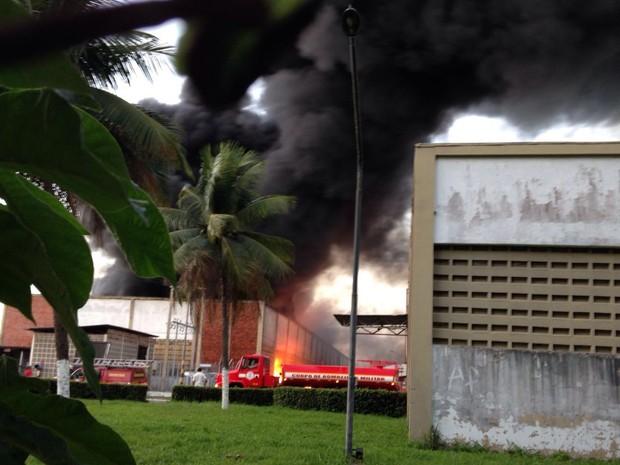 Fogo em fábrica foi controlado pelo Corpo de Bombeiros (Foto: Walter Paparazzo/G1)