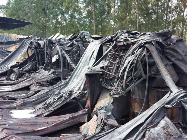 Fogo provocou a queima de 20 mil litros de óleo e 20 toneladas de graxa (Foto: Eduardo Sozo/EPTV)