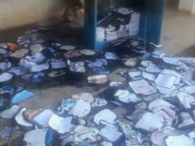 Escola municipal foi incendiada em Aparecida de Goiânia (Foto: Reprodução/ TV Anhanguera)
