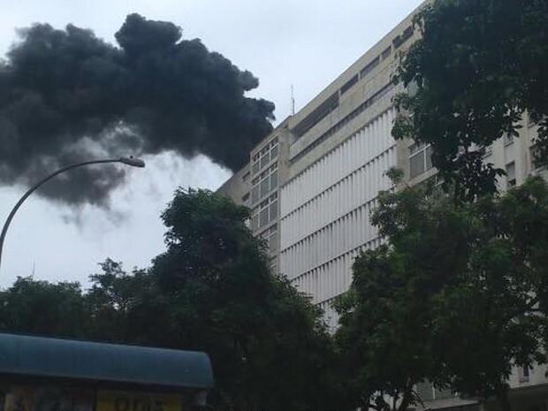 Incêndio no Centro do Rio (Foto: Rômulo Baptista/Arquivo pessoal)