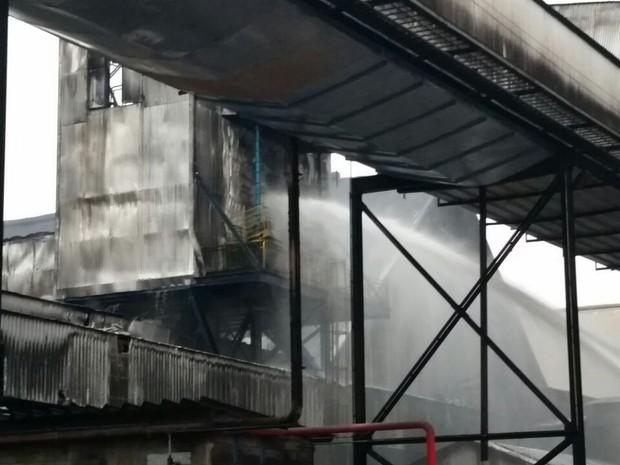 Incêndio atingiu esteira de empresa do Porto (Foto: G1)