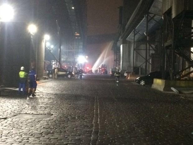 Bombeiros combateram o incêndio no Porto de Santos (Foto: Solange Freitas/G1)