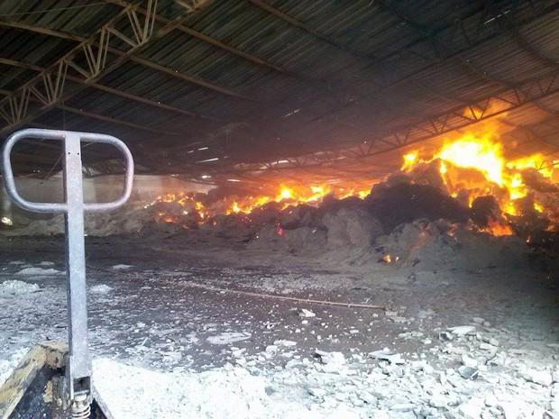 Bombeiros trabalham para controlar as chamas (Foto: Valdecir Luís/Arquivo Pessoal)