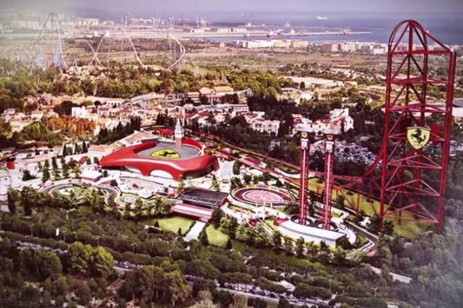 Parque temático da Ferrari, que ainda está e, construção, localizado na região da Catalunha (YouTube/Reprodução)