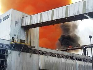 Incêndio aconteceu na Unidade 2 da Vale, em Cubatão (Foto: Divulgação/Corpo de Bombeiros)